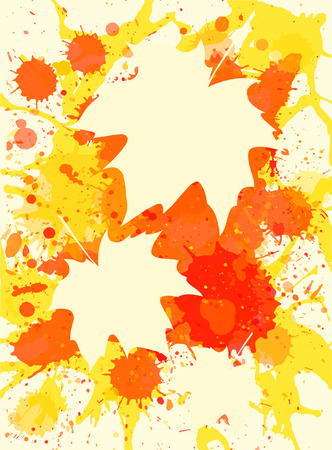 yellow paint: Three autumn maple leaves over bright orange artistic paint background, blank frames with room for text, vertical format. Illustration