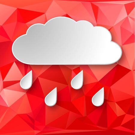 raining background: Paper 3d raining cloud over red abstract geometric background. Illustration