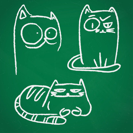 green chalkboard: Hand drawn chalk sketches of funny cats over green chalkboard.