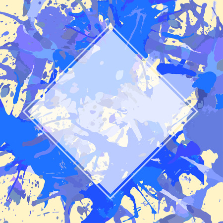 semitransparent: Template with semi-transparent white square over bright blue colorful artistic paint splashes, ready for your text.