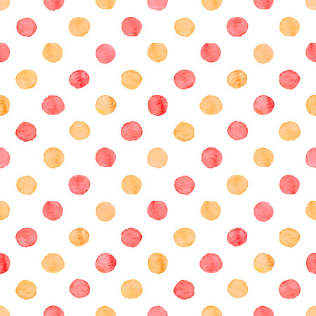 Seamless hand drawn watercolor pattern made of round red and orange dots, isolated over white.