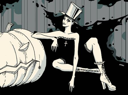 Sexy witch in top hat and Jack-o-lantern pumpkin. Halloween night celebration card in gray colors.