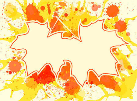 room for text: Autumn maple leaves over bright orange artistic paint background, blank frame with room for text, horizontal format.