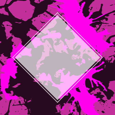 semitransparent: Template with semi-transparent white square over bright pink and black artistic paint splashes.