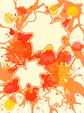 room for text: Three autumn maple leaves over bright orange artistic paint background, blank frames with room for text, vertical format. Illustration