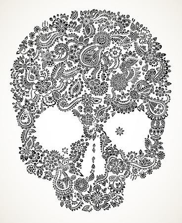 halloween skeleton: Hand drawn detailed doodle floral skull in black isolated over white.