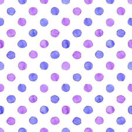 morado: Sin fisuras patr�n dibujado a mano acuarela hecha de puntos azules y morados redondos, aislado m�s de blanco. Vectores