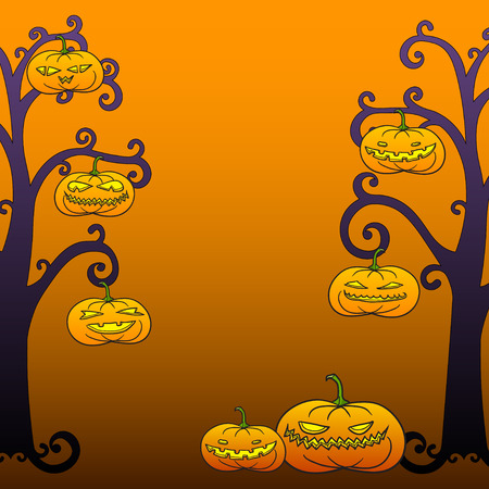 room for text: Halloween swirly tree frame with pumpkins, room for text.