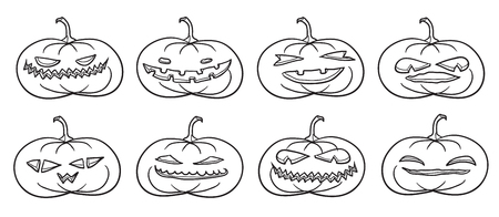 facial painting: Set of Halloween pumpkins contours on white.