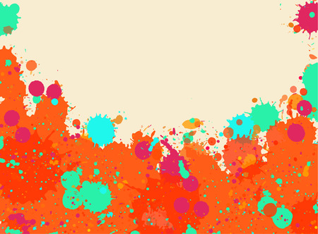 room for text: Vibrant bright orange and green watercolor artistic splashes frame with room for text, horizontal format.