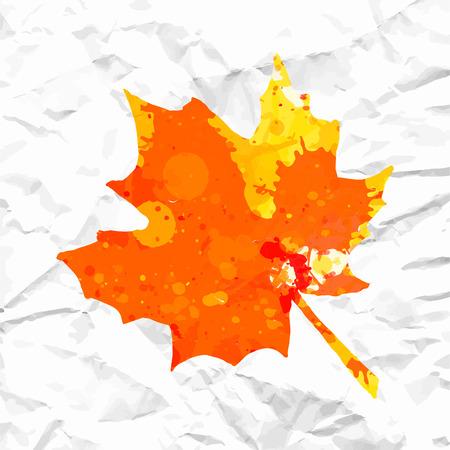 over white: Bright orange watercolor autumn maple leaf over white crumpled paper. Illustration