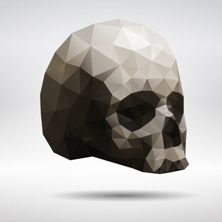 dropped: Dark geometric skull in triangular style with dropped shadow.
