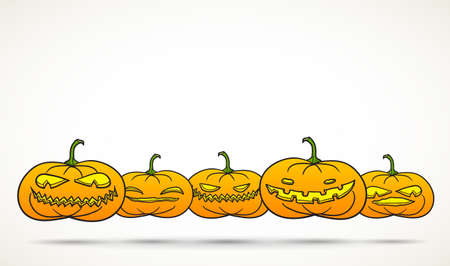room for your text: Set of Halloween pumpkins isolated on white with room for your text.