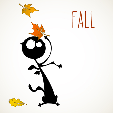 room for your text: Funny black cat surprised by autumn falling leaves. room for your text. Illustration