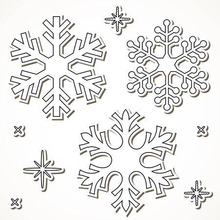 fiambres: los copos de nieve del corte del papel aisladas sobre fondo blanco. Vectores