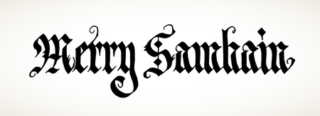 magick: Hand calligraphy inscription Merry Samhain, big pagan festival.