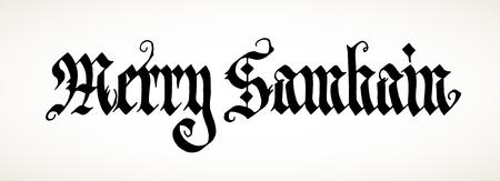 """samhain: Mano caligraf�a inscripci�n """"Feliz Samhain ', gran festival pagano."""