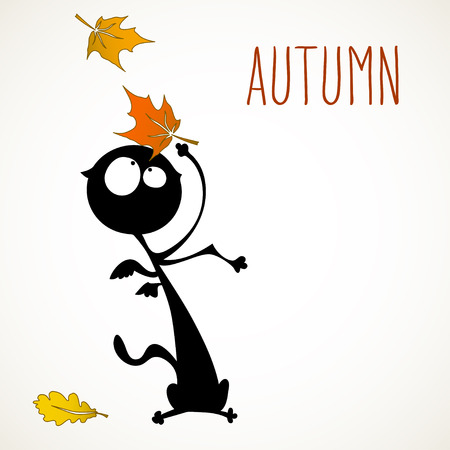 room for your text: Funny black cat surprised by autumn falling leaves, room for your text.