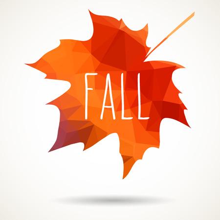 modern illustration: Maple leaf in triangular style with hand drawn word Fall.