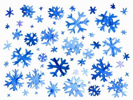 snowflake set: Collection of hand drawn doodle watercolor snowflakes.