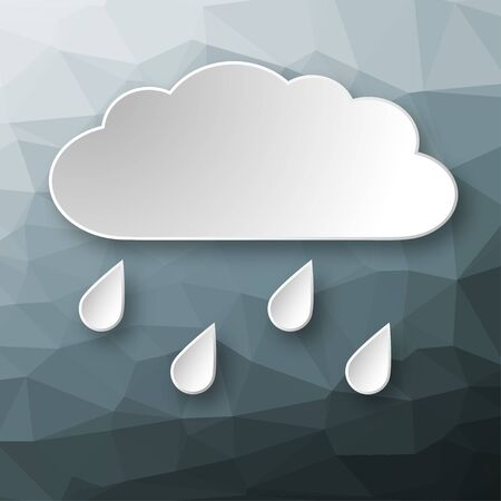 raining background: Paper 3d raining cloud over abstract geometric background. Illustration