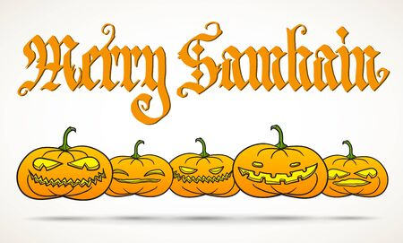 Hand calligraphy inscription Merry Samhain, big pagan festival with row of traditional pumpkins. Illustration