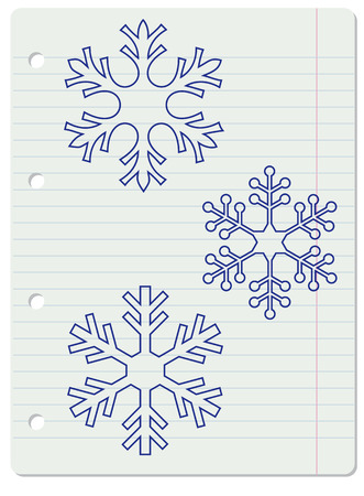 lined: Three blue snowflakes over lined notebook page. Illustration