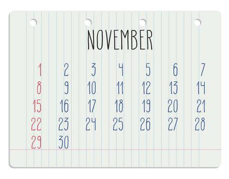 ruled paper: Hand written November 2015 calendar over white school paper sheet. Illustration