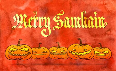 samhain: Merry Samhain - big pagan festival - bright orange greeting card, with row of traditional pumpkins.