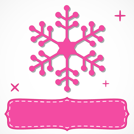hot pink: Hot pink frame with a snowflake for your Christmas text isolated on white.