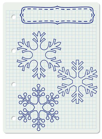 squared: Blank frame with snowflakes on a squared notebook paper.