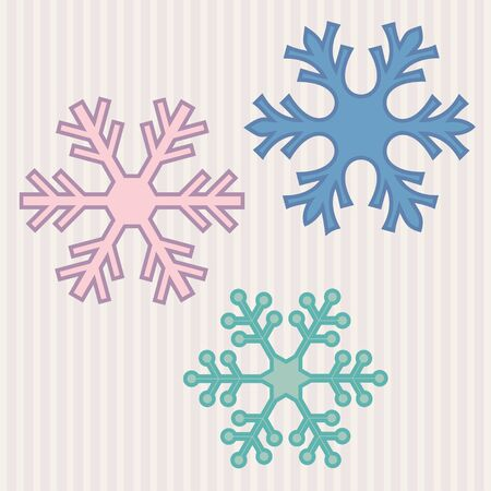 vintage stripes: Three colored snowflakes over vintage stripes background.