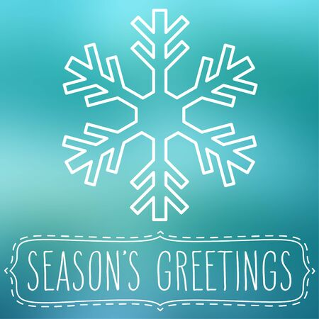 seasons greetings: White snowflake over blue square abstract smooth blur background with hand written seasons greetings in a frame. Vettoriali
