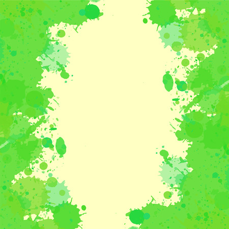 room for text: Vibrant bright green watercolor artistic splashes frame with room for text, square format.