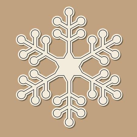 fiambres: Corte del papel de copo de nieve sobre fondo marrón de la vendimia.