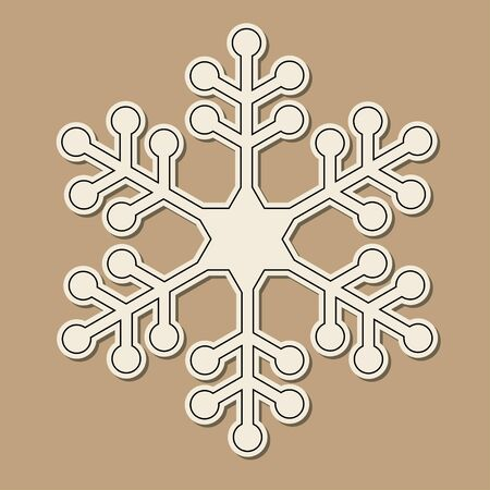 cold cuts: Paper cut snowflake over vintage brown background.