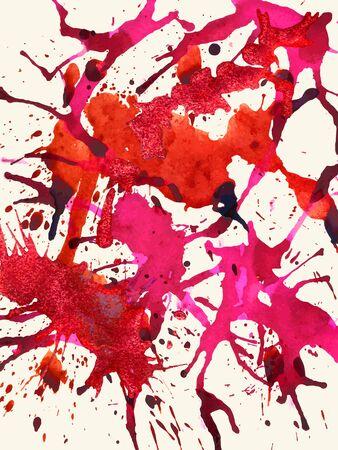 horizontal format: Vibrant bright red colorful artistic paint splashes, horizontal format. Illustration