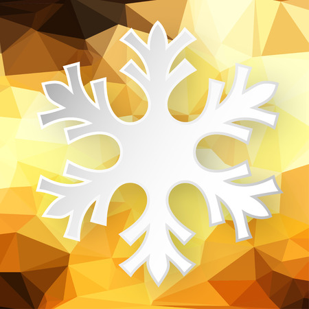 fondo geometrico: Paper snowflake over abstract geometric background consisting of yellow and brown colored triangles.