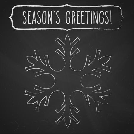 seasons greetings: Fiocco di neve di gesso e una cornice con i saluti scritta a mano di stagione su lavagna nera. Vettoriali