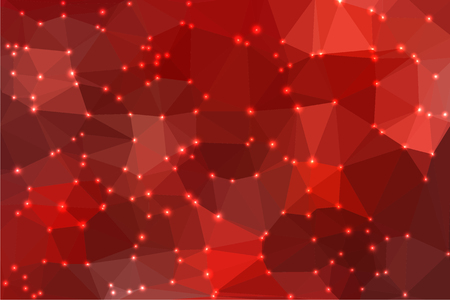 luminosity: Red abstract geometric background consisting of colored triangles with lights in corners.
