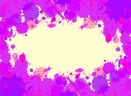 horizontal format: Vibrant bright purple watercolor artistic splashes frame with room for text, horizontal format.