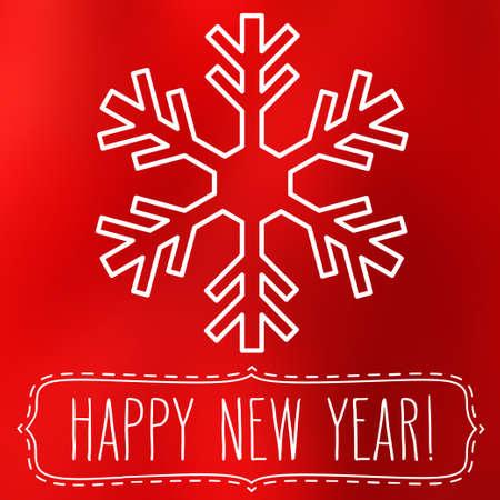 copo de nieve: Copo de nieve blanco sobre fondo rojo suave abstracto cuadrado desenfoque con escritos a mano saludos de A�o Nuevo en un marco. Vectores