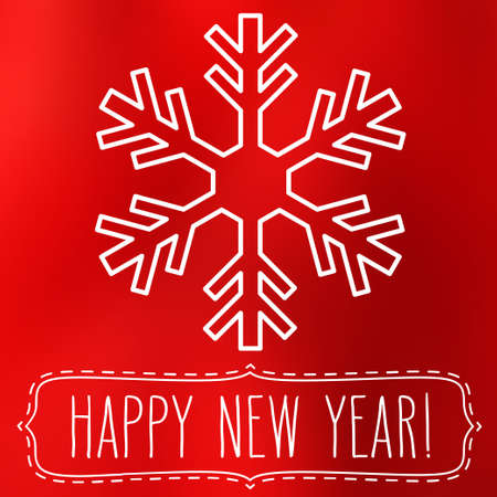 snowflake: White snowflake over red square abstract smooth blur background with hand written New Year greetings in a frame.