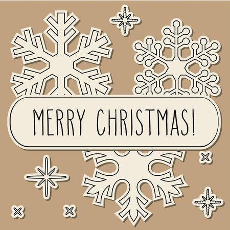 fiambres: Papel cortar copos de nieve y la mano escriben saludos de Navidad sobre fondo marrón de la vendimia.