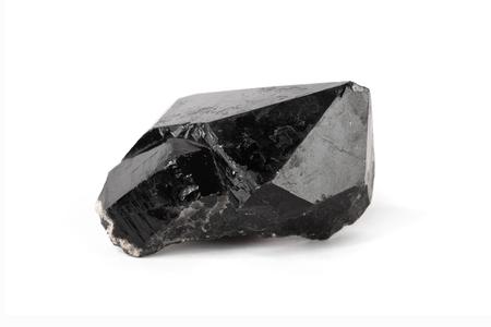 mined: One big black quartz crystal isolated on white. Stock Photo