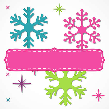 Brightly colored blank fame with snowflakes for your Christmas text, isolated over white. Illustration