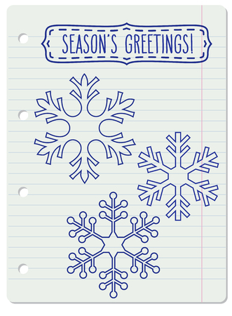 notebook page: Blue snowflakes and a frame with hand written seasons greetings over lined notebook page. Illustration