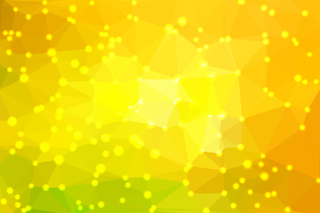 Yellow abstract geometric background consisting of colored triangles with lights in corners.