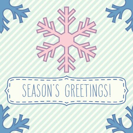 seasons greetings: Seamless pattern with snowflakes and a frame with hand written seasons greetings over pastel striped background.