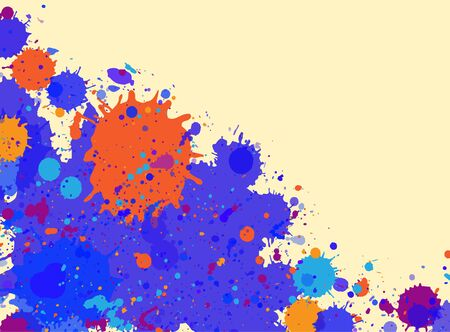 text room: Vibrant bright blue and orange watercolor artistic splashes frame with room for text.
